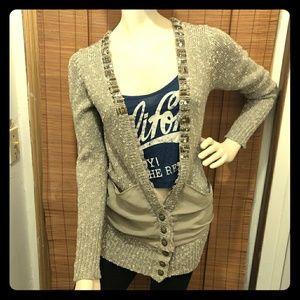 Bke boutique boho taupe funky knit cartigan medium